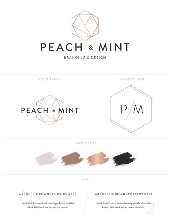 Geometric Hexagon Logo Design Brand Kit Inc By PeachmintDesign