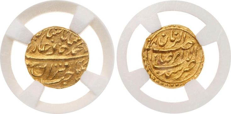 Mughal. Muhammad Shah (AH 1131-1161; 1719-1748 AD). Gold ½-Mohur, Sind, Year 125, 4.50g, 14mm (KM D438.2). Extremely fin Mughal. Muhammad Shah (AH 1131-1161; 1719-1748 AD). Gold ½-Mohur, Sind, Year 125, 4.50g, 14mm (KM D438.2). Extremely fine. Extremely rare. 	ex Steve Album	This beautiful coin is a departure from the normal Mughal coins of the period in the sense that it does not bear the julus formula. Instead it reads Al Amir Sahib Al Zaman Zarb Sind. 	$ 7,000. Estimated Value $7,000-UP…