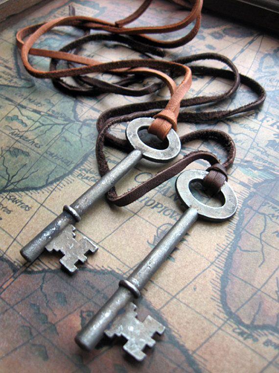 $22 - Vintage Skeleton Key - Deerskin Cord Unisex Necklace. Available @ keytiques.etsy.com