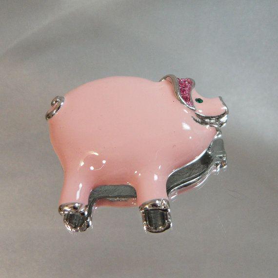 Vintage Pig Brooch Pink Pig Raspberry Rhinestones by waalaa, $21.99