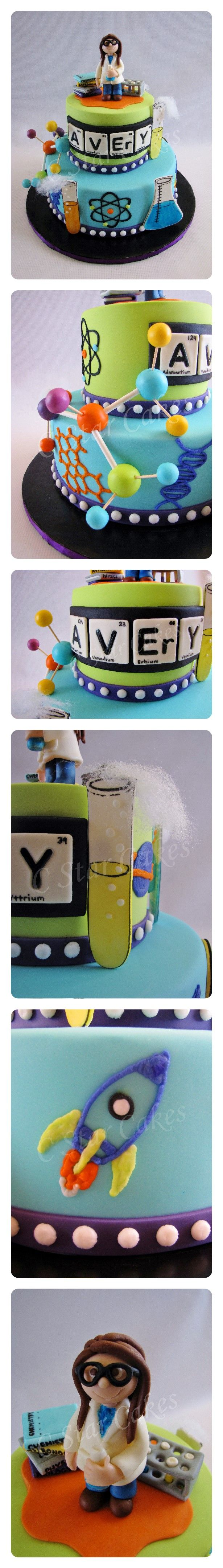 Avery's Science Themed cake by C Star Cakes #cstarcakes                                                                                                                                                                                 More