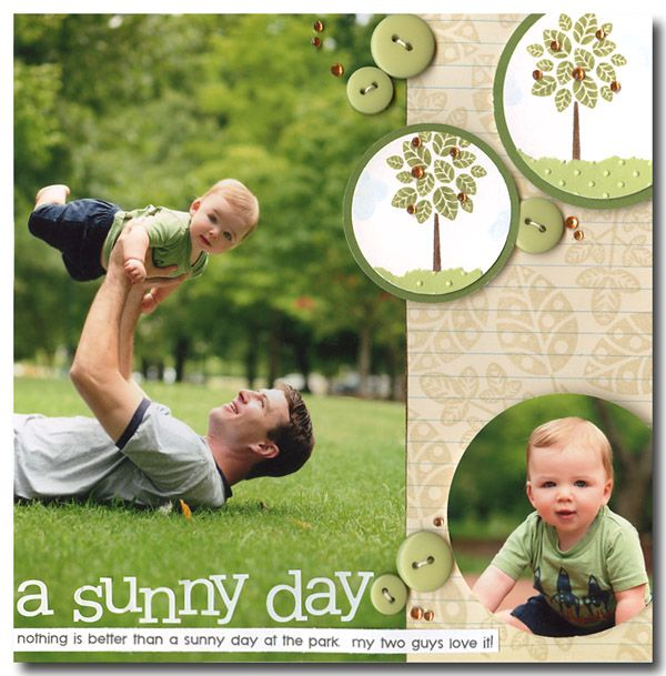 """2 photo 8x10  Cute Boys & Trees """"A Sunny Day"""" Scrapping Page...by Jennifer McGuire."""