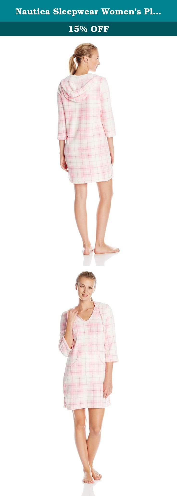 Nautica Sleepwear Women's Plush Plaid Hoodie Chemise, Orchid Pink, X-Large. Satin trim.