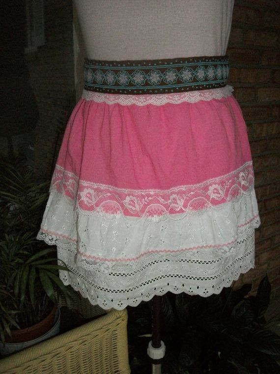 Shabby Chic Pink & White Lace Half Apron with Modern Belt  Rick Rack - Romantic Sexy