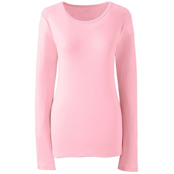 Lands' End Women's Plus Size Petite Shaped Cotton Crewneck T-shirt (32 CAD) ❤ liked on Polyvore featuring tops, t-shirts, pink, women's plus size graphic tees, pink t shirt, womens plus tees, pink plus size tops and crew neck t shirt
