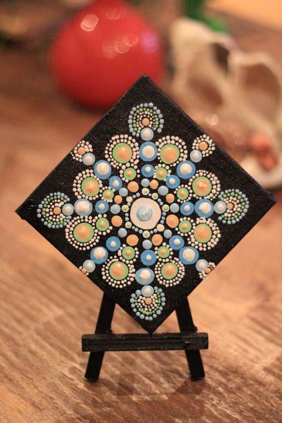 Aboriginal Mandala Dot Art Hand Painted Art Acrylic Mini