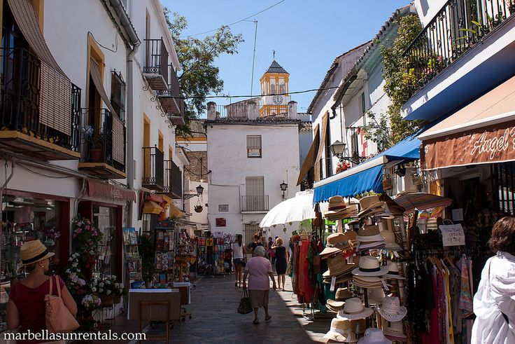 Street in Old Town, Marbella with church at background