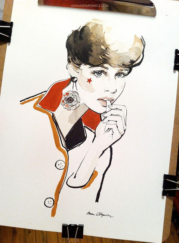 Vogue Elodie Campbell, illustration, Anna Ostapowicz, #watercolour, #drawing, #paris, #fashion, #model, #cover, #illustration, #face #makeup, #magazine, #fashionillustration,