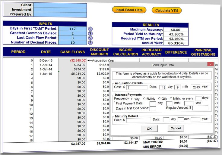 The Bond Yield Calculator for Excel or OpenOffice Calc enables the automatic generation of scheduled bond payments and the calculation of resulting yield to maturity. The model is equipped to handle 'odd' first time periods and is designed to facilitate bond payment and yield calculations. The Bond Yield Calculator provides a free and open source solution for analyzing fixed interest investments.