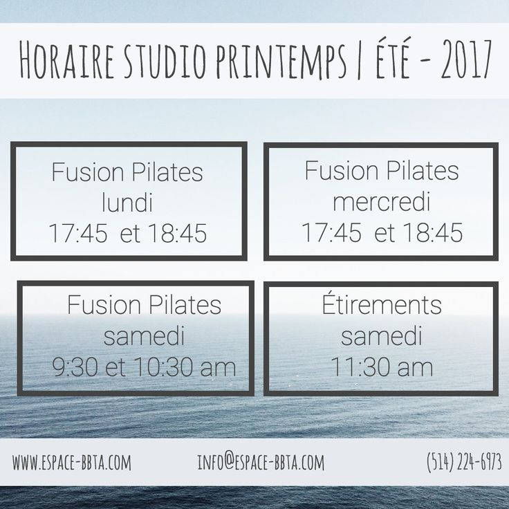 L'horaire des cours au mini studio pour le printemps et l'été 2017 #bbta #beachbum #montreal #petiteitalie #littleitaly #pilates #stretching #yoga