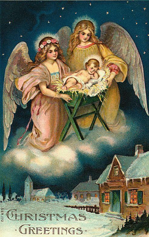 Two vintage angels with baby Jesus, village below http://wordplay.hubpages.com/hub/christmas-angel-cards
