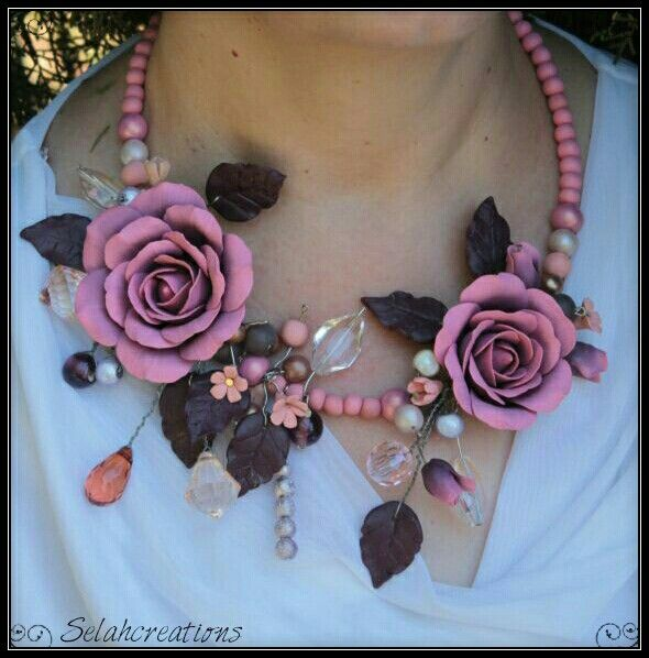 Multi rose, bead wirework in pale pinks and browns