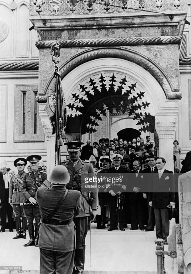 HM King Michael of Romania in front of the Episcopal Church in Curtea de Argeș, after the comemoration of his grandparents, King Ferdinand and Queen Maria, in 1942. ROMANIANS ASK FOR THEIR MONARCHY BACK! https://www.facebook.com/despremonarhie  ---  MS Regele Mihai I al României în fața Bisericii Episcopale din Curtea de Argeș, după comemorarea bunicilor săi, Regele Ferdinand I și Regina Maria, în 1942. ROMÂNII ÎȘI VOR MONARHIA ÎNAPOI! https://www.facebook.com/despremonarhie