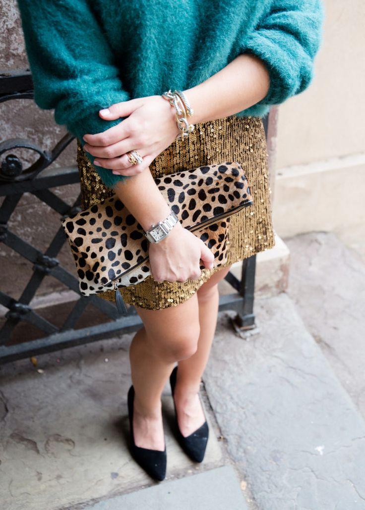 gold sequin skirt