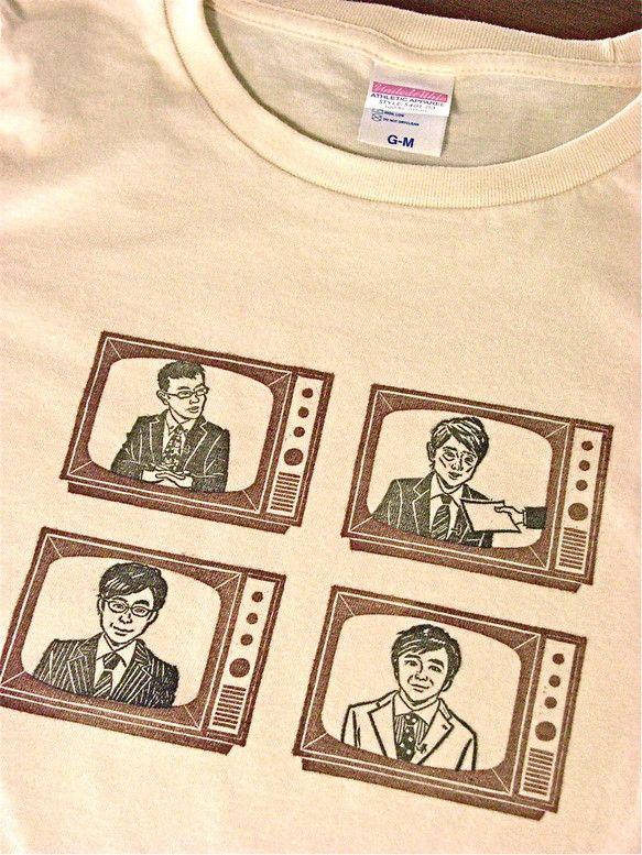 「【NHKアナウンサー】似顔絵はんこ」をスタンプしてTシャツを制作いたします。布用の発色のよいスタンプインキを使用しています。使用するTシャツは「ユナイテッド...|ハンドメイド、手作り、手仕事品の通販・販売・購入ならCreema。