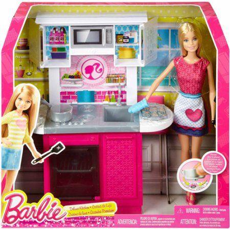 312 best images about i l ve barbie on pinterest for Doll kitchen set