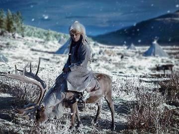 Me on reindeer Mongolia