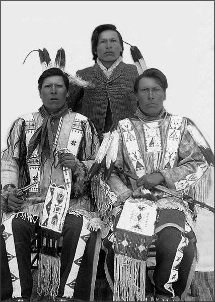 Survivors of the Wounded Knee Massacre. [left to right] Brothers White Lance, Joseph Horn Cloud, and Dewey Beard . Joseph Horn Cloud was about sixteen years old when he witnessed the Wounded Knee massacre on December 29, 1890, two other brothers, Frank Horn Cloud and Earnest Horn Cloud also   survived, his parents, two brothers, and a sister were killed.
