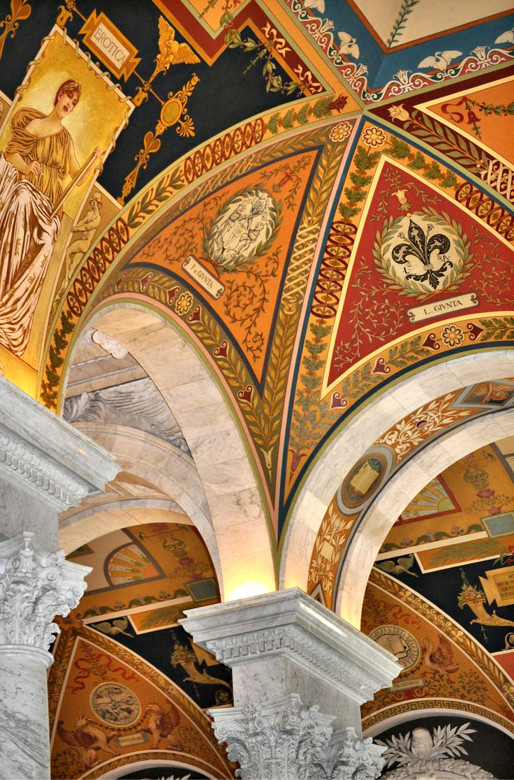 Architectural details inside the Library of Congress; Personal photograph