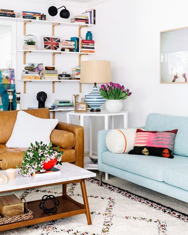 I would be hard-pressed to pick a favorite piece from #lucysaptrefresh living room, but the amazing leather sofa from @bryghtcom would for sure be at the top of the list. Every single one of us that helped at Lucy's house and photoshoot decided we needed a camel leather Sven sofa of our own! I love how it pairs with the mint linen sofa also from Bryght. And that Moroccan style rug from @westelm? Looked like a million bucks in person. If I hadn't ordered the rug myself, I would have guessed…