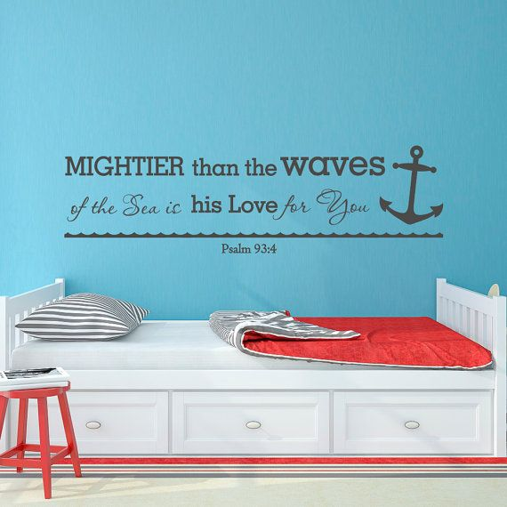 Bible Verse Wall Decal Mightier Than The Waves Of By FabWallDecals Part 91