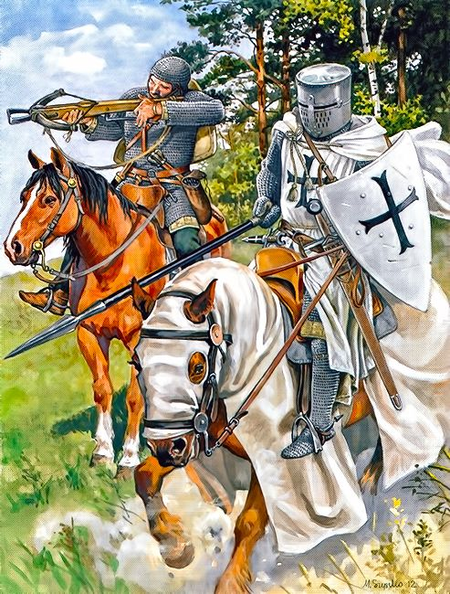 """""""Brother Knight of the Teutonic Order and the Order's servant (famulus) approx. 1250"""""""