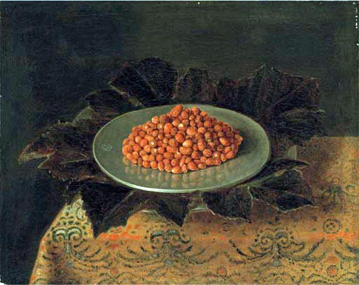 4 Sébastien Stoskopff, cercle de fruits   fraise plat sur nappe.jpg