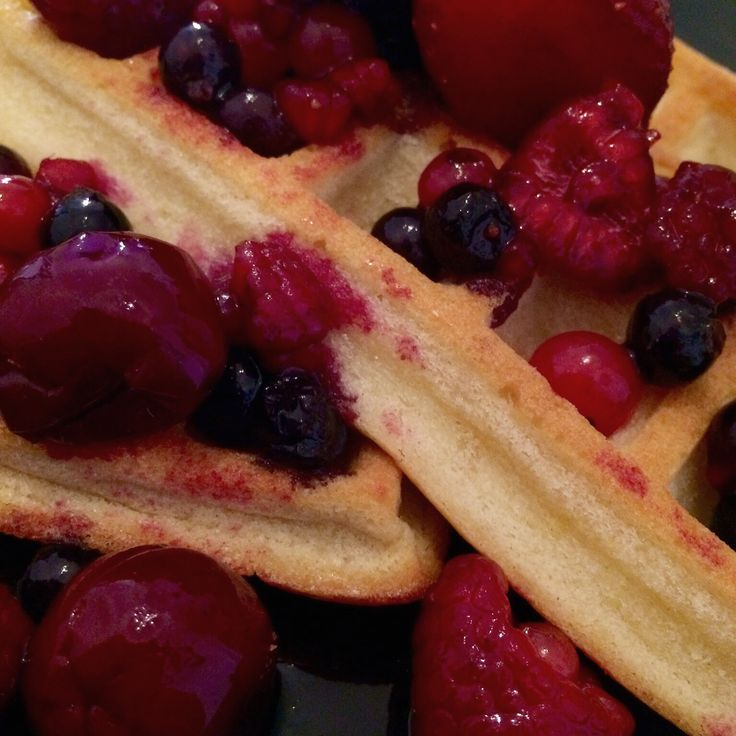 Waffles with red berries