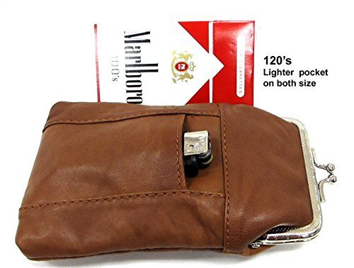 2pcLight Brown Soft Goat Leather Cigarette Case with Lighter Pocket One for 100s One for 120s ** Check out this great product.Note:It is affiliate link to Amazon.