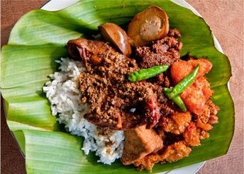 Nasi Gudeg , made of young jack-fruit and boiled eggs stewed in coconut milk with a mixture of spices. http://foodmenuideas.blogspot.com/2013/10/indonesian-food-getting-to-know.html