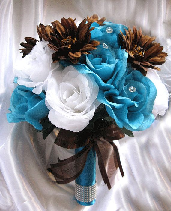 """Free Shipping Wedding Bouquet Bridal Decoration Silk flower TURQUOISE BROWN DAISY 17 pcs package decoration """"Roses and Dreams"""" on Etsy, $199.99 this is pretty but pricey could probably make this"""