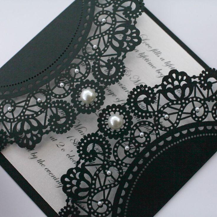 Vintage Style Lasercut Black Lace Doily Invitation