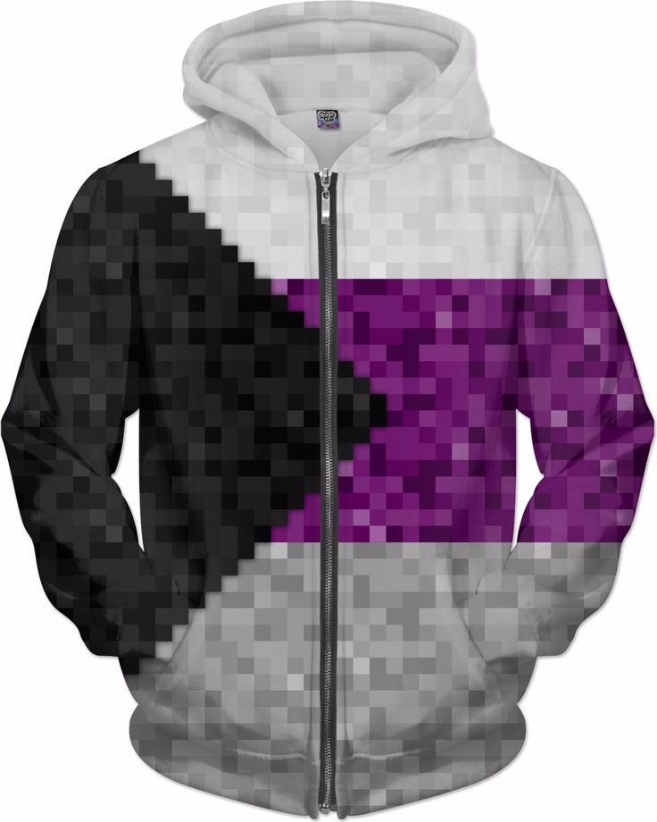 Large pixel flag in Demisexual colors. Demisexual 8-bit flag in pride colors white, purple, grey, and black triangle striped pride flag colors.