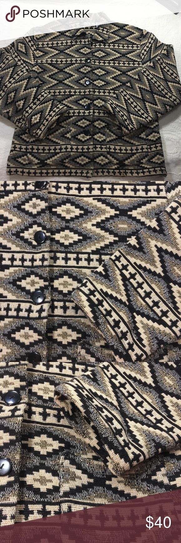 """Size small Navajo Aztec Print Tapestry Blazer coat Good overall condition.  No flaws noted.    Women's Aztec Navajo Print Tapestry 100% Cotton Long Sleeve Blazer.     Measurements are approximate with the garment laid flat  Bust 21"""" Waist 20.5"""" Hip 21"""" Sleeve 23"""" Shoulder to hem 25"""" Studio West Jackets & Coats Blazers"""