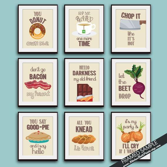 Funny Kitchen Song Series Set Of 9 Art Prints Featured In Etsy Kitchen Art Prints Kitchen Humor Kitchen Art