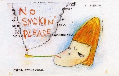 """""""No Smokin' Please"""" Dibujo artístico de la artista contemporánea japonesa, Yoshimoto Nara. Dibujo hecho con crayon y lapiz en papel impreso. Admitido en la colección del MoMa."""