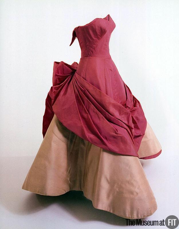 ~Rose Clover dress c1953. Designer: Charles James  1906-1978  Medium: Pink silk taffeta, silk satin, and boning~