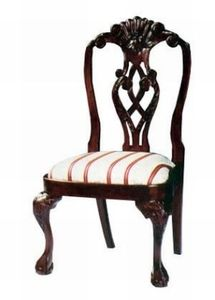 Dark Brown Solid Wood Chippendale Chair