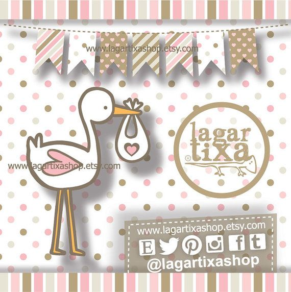 Papel Digital Fondos Imagenes Clip art para Baby Shower Niña