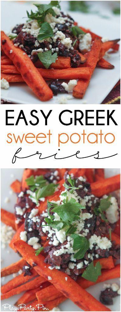 Greek Baked Sweet Potato Fries   Recipe   Potatoes, Cheese ...