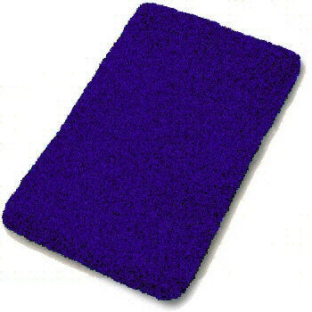 Blue bathroom rug will look nice on black tiles along with blue towels the apartments