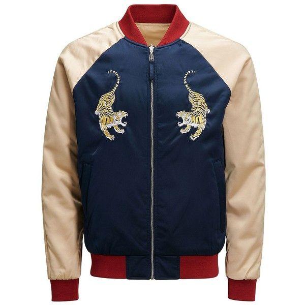 Jack & Jones Jorsatin Colorblock Bomber Jacket (€165) ❤ liked on Polyvore featuring men's fashion, men's clothing, men's outerwear, men's jackets, total eclipse, men's embroidered bomber jacket, mens long bomber jacket and mens long jacket