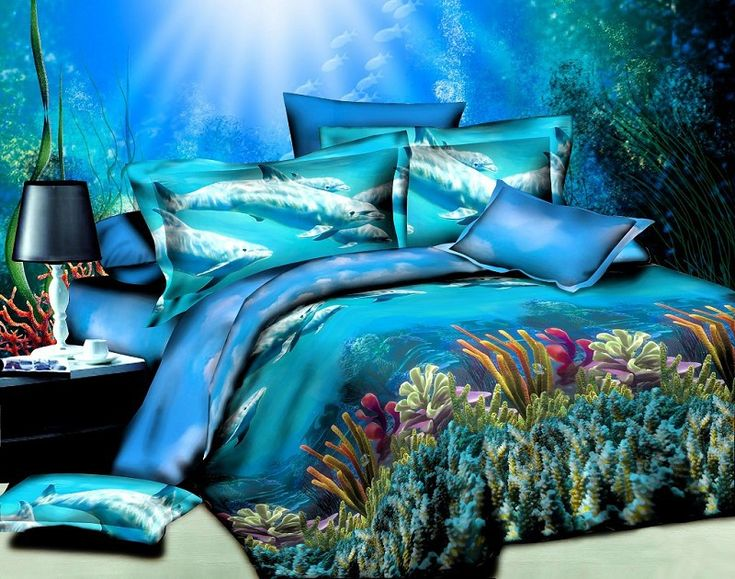 NEW Design 3D Oil Painting Bedding Sets Cover ,3d Oil Ocean Bed Sheets,blue