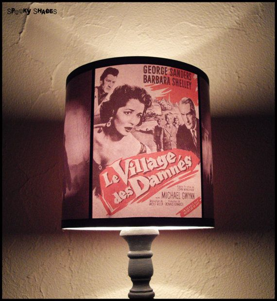 Horror Night lamp shade - SPOOKY SHADES, halloween decor, geekery, classic horror movie, pop culture, rockabilly decor, gift for a geek