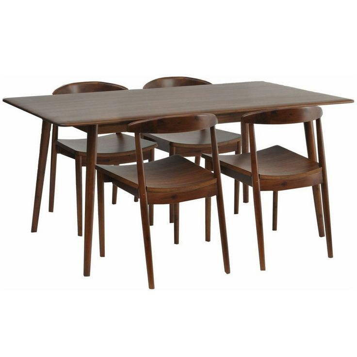 Gorgeous Dining Room Table And Chairs HWD 75 X 160 Chair 47 Set Of 4 Solid Acacia Wood Smooth Polished Finish