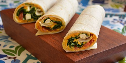 Carrot and cumin dip, feta and salad wrap