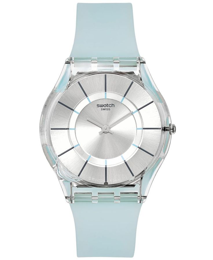 A Summer Breeze watch from the Swatch Tech Mode collection. | Icy blue silicone strap | Round clear plastic case, 34mm | Silver-tone dial with dark gray stick indices, three hands and Swatch logo | Sw