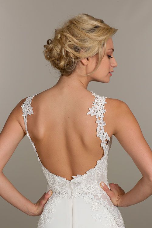 Ivory lace and crepe trumpet bridal gown, sweetheart corset bodice with lace straps, layered Venise lace appliques accenting the bodice and side skirt godets Bridal Gowns, Wedding Dresses by Tara Keely - JLM Couture - Bridal Style tk2501 by JLM Couture, Inc.