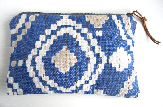 Ikat Pouch, Zipper Pouch, Blue Pouch, Sashiko Stitching, Aztec Pouch, Gift for Her, Gift for Mum, Boho Pouch, Zip Pouch, Small Gift