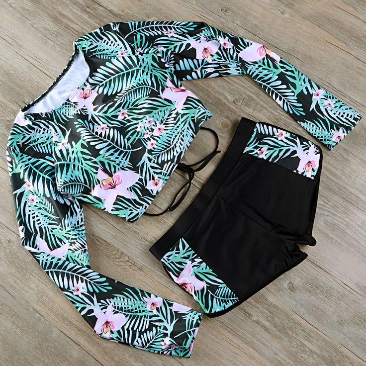 2017 Swimsuit Long Sleeve Swimwear Print Floral Bikini Surfing Women Bathing Suit Retro Beachwear Vintage Two Pieces Monokini